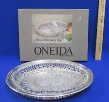 Oneida Silver Plate & Glass Relish Dish Tray Plate Ridgewood Personalized Names