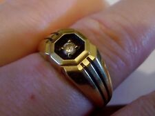 CHIC SLEEK stripes Black  enamel Diamond 14K Yellow Gold 5.6g  Men 10.5 Ring