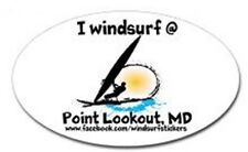 "I Windsurf @ Point Lookout, Md Bumper/Window Sticker Oval 3"" X 5"""
