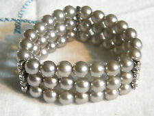 Beautiful Stretch Bracelet Sparkling Clear Rhinestones Gray Plastic Beads 1 1/4