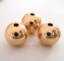 3x 10mm 14k ROSE gold filled round seamless bead spacer high polish shiny RB10