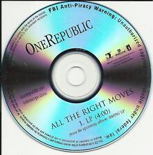 ONEREPUBLIC All the Right Moves TST PRESS PROMO DJ CD SIngle One Republic USA