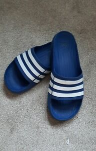 Mens Adidas Blue/White Sliders Size 9