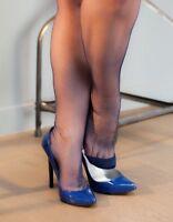 - NEW GIO NAVY Fully Fashioned Point Heel Nylon Seamed Stockings Size 9.5 Medium