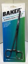 "Baker 8"" Fisherman's Forceps Stainless Steel Curved Tip Hemostat Fly Tying Fish"