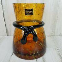 Makora Poland Handmade Art Glass Vase Amber Purple 8 in Tall