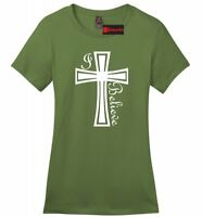 I Believe Soft Ladies T Shirt Christian Faith God Prayer Jesus Gift Religion Z4