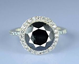 Brilliant Cut Black Diamond Solitaire With Accents Ring 4.89 Ct. Christmas Gift
