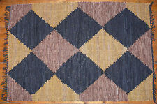 Hand Woven Leather Rug / Wall Hanging Diamond Design Mustard, Brown & Black