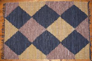 Hand Woven Leather Rug / Wall Hanging Diamond Design Mustard, Brown & Black