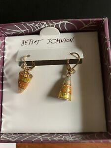 Betsey Johnson Halloween Candy Corn Earrings Bling New