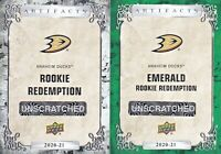 2- JANI HAKANPAA 2020-21 UD ARTIFACTS ROOKIE REDEMPTION Ducks EMERALD & REG 181