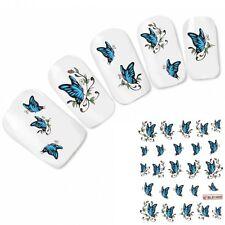 Nagel Sticker Nail Art Tattoo Blauer Schmetterling Aufkleber Nagelsticker NEU!