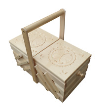 More details for  large wooden sewing box 35 cm long, in white colour