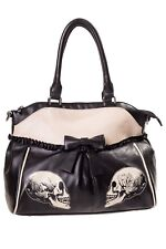 BANNED UNIVERSO TESCHIO ROSE PARALLEL Borsetta Borsa in pizzo fiocco Goth Alternative