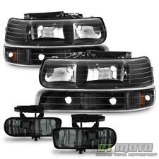 99-06 Silverado Suburban Tahoe Black Headlights +Bumper Signal+Smoked Fog Lights