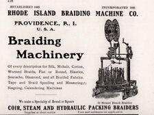 1913 AD RHODE ISLAND BRAIDING MACHINE CO COIR STEAM HYDRAULIC PACKING BRAIDERS