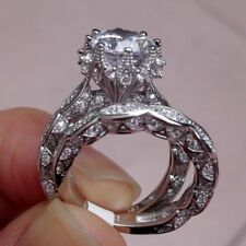 Fashion Jewelry 925 Silver White Sapphire Gemstone Wedding Bridal Ring Set Size7