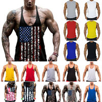 Stringer Bodybuilding Tank Top Solid Gym Singlet Y-Back Muscle Mens Racer-back