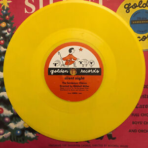 SILENT NIGHT Golden Little Yellow Record 78rpm 50s VG ++ HTF RED LABEL