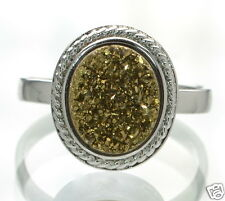 Solid 925 Sterling Silver Oval Gold Color Druzy Cocktail Ring Size 6 '