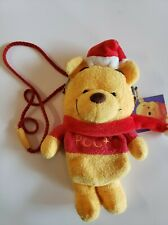 Japan Tokyo Santa Winnie the Pooh Christmas Plush Pouch Coin Bag Purse
