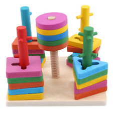 Funny Wooden Toys Kids Toy Toddler Five Column Set Wise Baby Building Blocks 6n