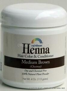 Medium Brown Rainbow Research HENNA Hair Colour and Conditioner 1 Jar 4 oz 113 g