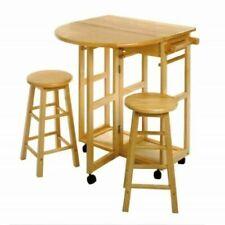 Drop Leaf Island Cart Space Saver wth 2 Stools & Drawers Beechwood Breakfast Bar