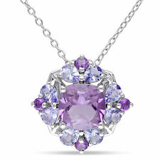 Amour Sterling Silver Amethyst and Tanzanite Necklace
