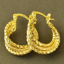 Authentic womens jewelry Yellow Gold Plated Embossed girls small Hoop Earrings