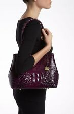 ❤BRAHMIN ANYTIME BAG DARK IRIS PURPLE CROC EMB LEATHER SHOULDER TOTE ~ AMETHYST❤