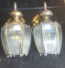 Salvaged Gold Vintage Beveled Pair of Brass Outdoor Laterns(decent offer&Yours)