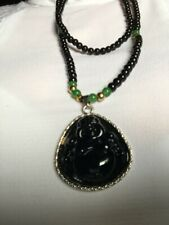 Bead Carved Buddha Head Lucky Amulet Necklace
