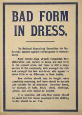 BAD FORM IN DRESS. EXTRAVAGANCE IN WOMEN'S DRESS British WW1 Propaganda Poster