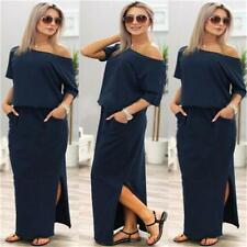 Womens Short Sleeve Maxi Long Dress Evening Party Cocktail Summer Beach Sundress