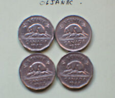 #2,1947 Dot ,1937 Dot,1947 Maple Leaf,1947 Canada 5c,Five Cents,Nickel (4 coins)