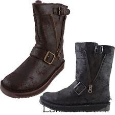 100% Leather Slip On Biker Boots for Women