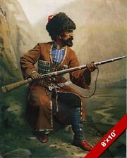 CIRCASSIAN WARRIOR IN TRADITIONAL UNIFORM & RIFLE PAINTING REAL CANVAS ART PRINT
