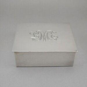 Vintage 1950s Tiffany & Co Sterling Silver Cigarette Box Wood Lined LME Monogram