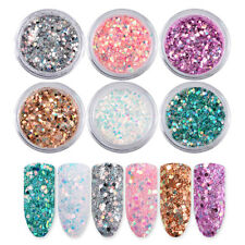 6 Mini Box Set Glitter Nail Art Powder Sequins Tips Decoration Manicure