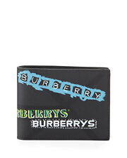 Burberry Wallet - BNWT Men's Grey Graffiti Logo Tag Bifold Wallet RRP: £240