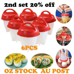 6 PCS Silicone Steamer Egglettes Hard Boil Cooker Poacher Kitchen Tools Eggs Cup