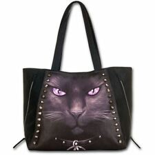 Spiral Direct Black Cat With Pentagram Gothic Witch Black Studded Tote Bag