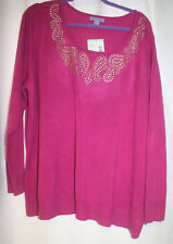NEW WOMENS PLUS SIZE 3X LAURA SCOTT FESTIVAL FUCHSIA CREWNECK SWEATER WITH STUDS