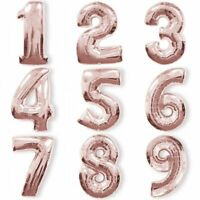 """Rose Gold Foil Balloon Numbers 100cm/40"""" Helium/Air Birthday/Anniversary Dr"""