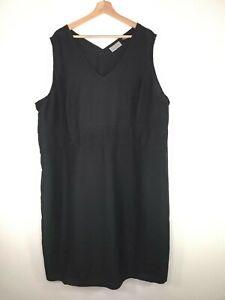 Avenue Womens Dress Black Sheath Sleeveless Linen Blend Vneck Plus Size 26