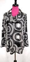 Ali Miles Tunic Top Size L Womens Black White Geometric Textured Cowl Neck