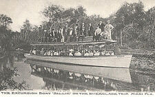 """Postcard-Excrsion Boat """"Sallie"""" on Everglade Trip, Miami FL, filled with folks"""