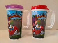 2 Whirley Walt Disney World Mickey Minnie Mouse Rapid Fill Travel Cups Mugs